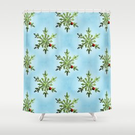 Winter Holidays Pine Snowflake Shower Curtain