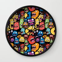 monster Wall Clocks featuring Monster Faces Pattern by Chris Piascik