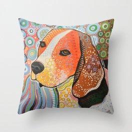 Rocky ... Abstract pet dog portrait art, Beagle Throw Pillow