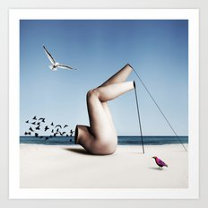 Birds on a beach interacting with a disjointed body Art Print