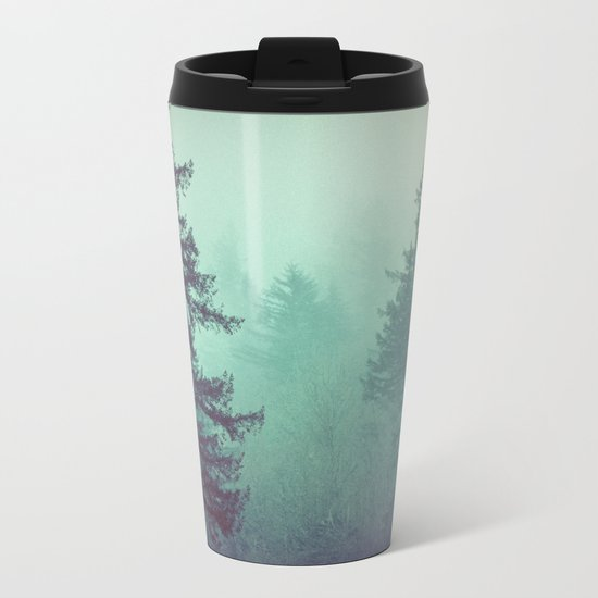 Forest Fog Fir Trees Metal Travel Mug