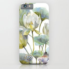 Lotus Plant and Fish Zen Design Watercolor Muted Pallet Botanical Art iPhone Case