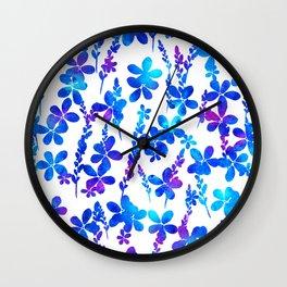 Mystic blue flowers & leaves Wall Clock