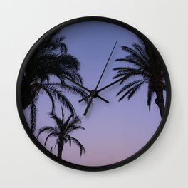 Purple Palm Paradise Wall Clock