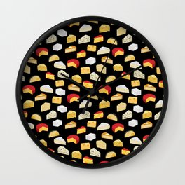 Cheese pattern food fight apparel and gifts Wall Clock