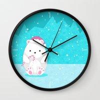 polar bear Wall Clocks featuring Polar bear by eDrawings38