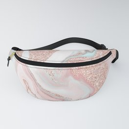 Modern rose gold glitter coral gray pastel marble marbling effect pattern Fanny Pack