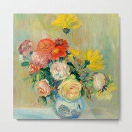 """Auguste Renoir """"Vase de Roses et Dahlias"""" Metal Print"""