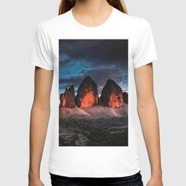 Tre Cime di Lavaredo; Italian Sexten Dolomites--Sunset T-shirt