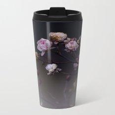 Delicate Dried Pink Mini Roses on Smoky Dark Grey Metal Travel Mug