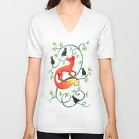 bunnies V-neck T-shirts featuring Bunnies and a Fox by Freeminds