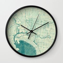 Melbourne Map Blue Vintage Wall Clock