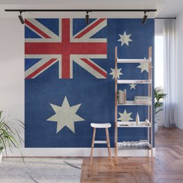 """Australian flag, retro """"folded"""" textured version (authentic scale 1:2) Wall Mural"""