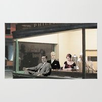mad men Area & Throw Rugs featuring mad men characters are Hopper's Nighthawks by Magdalena Almero