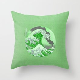 The Great Wave Off Kanagawa Mount Fuji Eruption-Green Throw Pillow