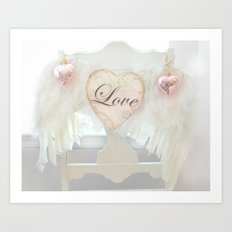 Dreamy Ethereal White Angel Wings Love Heart Print and Love Home Decor Art Print