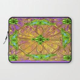 Lilac-Gold Green Peridot Gems August Birthstone Design Laptop Sleeve