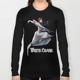 White Crane Comic Kung Fu Girl tshirt cute martial arts gift Long Sleeve T-shirt
