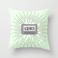 tape Throw Pillows featuring Tape by Colleen Sweeney