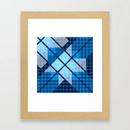 Abstract Geometric Blue Plaid Design Framed Art Print