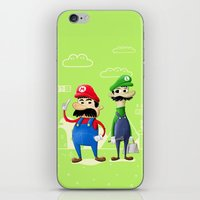 luigi iPhone & iPod Skins featuring Mario & Luigi by Jorge De la Paz