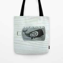 Whale in a Bottle | Ship's Wheel Tote Bag