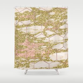 Dramatic rose gold and golden honeycomb Shower Curtain