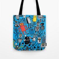 robots Tote Bags featuring ROBOTS! by Chris Piascik