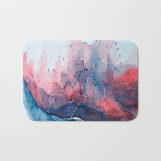 Watercolor shadow red & blue, abstract texture Bath Mat