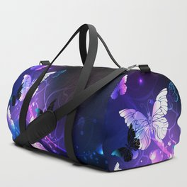 Background with Night Butterflies Duffle Bag