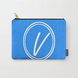 Monogram - Letter V on Dodger Blue Background Carry-All Pouch