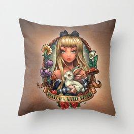 Follow The White Rabbit. Throw Pillow