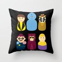 watchmen Throw Pillows featuring Watchmen by PinkRadish