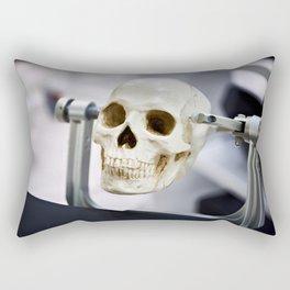 Human skull model in clamps for education Rectangular Pillow