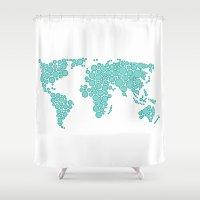 polkadot Shower Curtains featuring World Map - Polkadot Atlas (Cyan) by Rothko