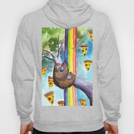 sloth pizza rainbow Hoody