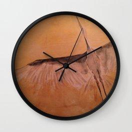 Wood Crane gold sky painting on wood Wall Clock
