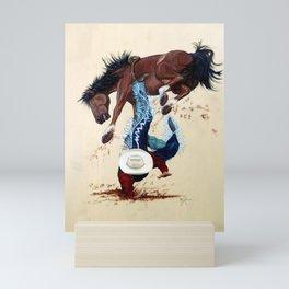 Thrown Rodeo Cowboy Mini Art Print