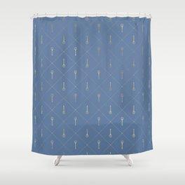 Elegant Gold Fork Trident Pattern Shower Curtain
