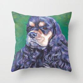 Cocker Spaniel dog art portrait from an original painting by L.A.Shepard Throw Pillow