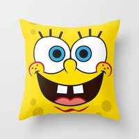 spongebob Throw Pillows featuring SpongeBob Face by julien tremeau