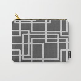 Retro Modern Blanched Slate Rectangles On Storm Grey Carry-All Pouch