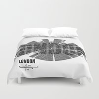london map Duvet Covers featuring London Map by Shirt Urbanization