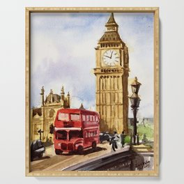 Big Ben London Red Double Decker Bus England Serving Tray