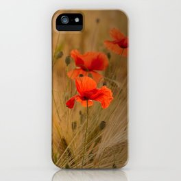 Golden cornfield with poppies iPhone Case