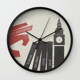 V Vendetta, alternative movie poster, graphic novel, Alan Moore, Natalie Portman, Guy Fawkes, S. Fry Wall Clock