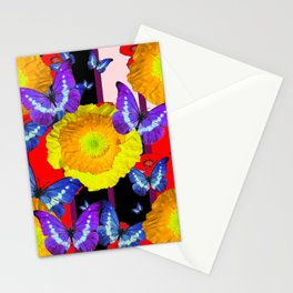 GOLDEN-YELLOW POPPIES  FLOWER BUTTERFLIES RED FLORAL Stationery Cards