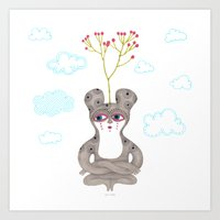 lonely cute creature with rose bush Art Print