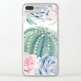 Cactus Rose Succulents Garden Clear iPhone Case