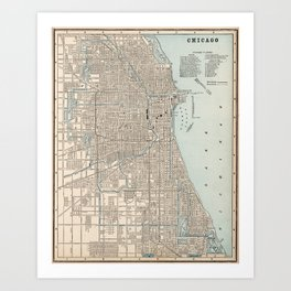 Vintage Map of Chicago (1893) Art Print
